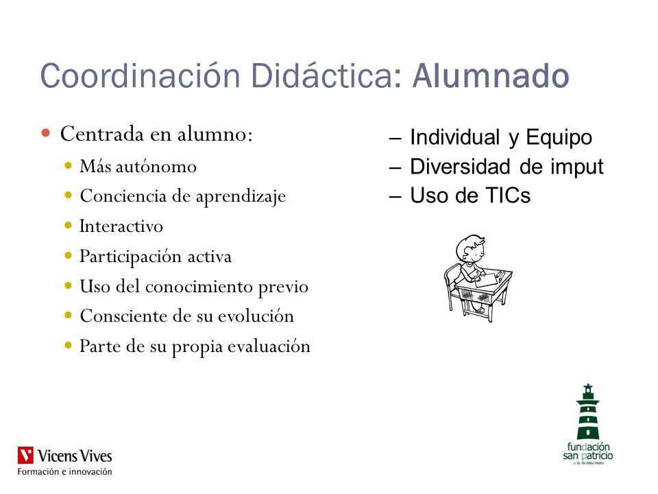 Coordinación Didáctica: Alumnado Centrada en alumno: Más autónomo Conciencia de aprendizaje Interactivo Participación activa Uso del conocimiento prev