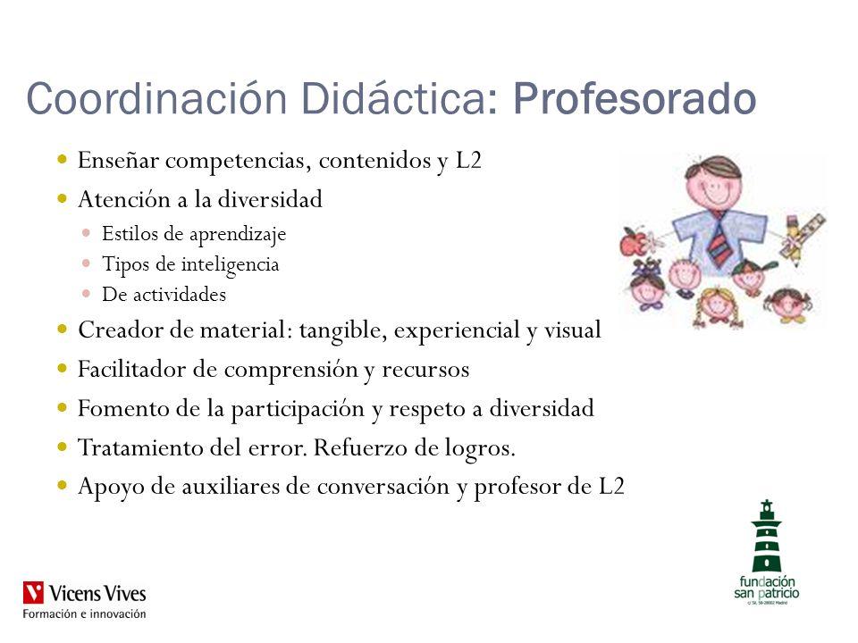 Coordinación Didáctica: Profesorado Enseñar competencias, contenidos y L2 Atención a la diversidad Estilos de aprendizaje Tipos de inteligencia De act