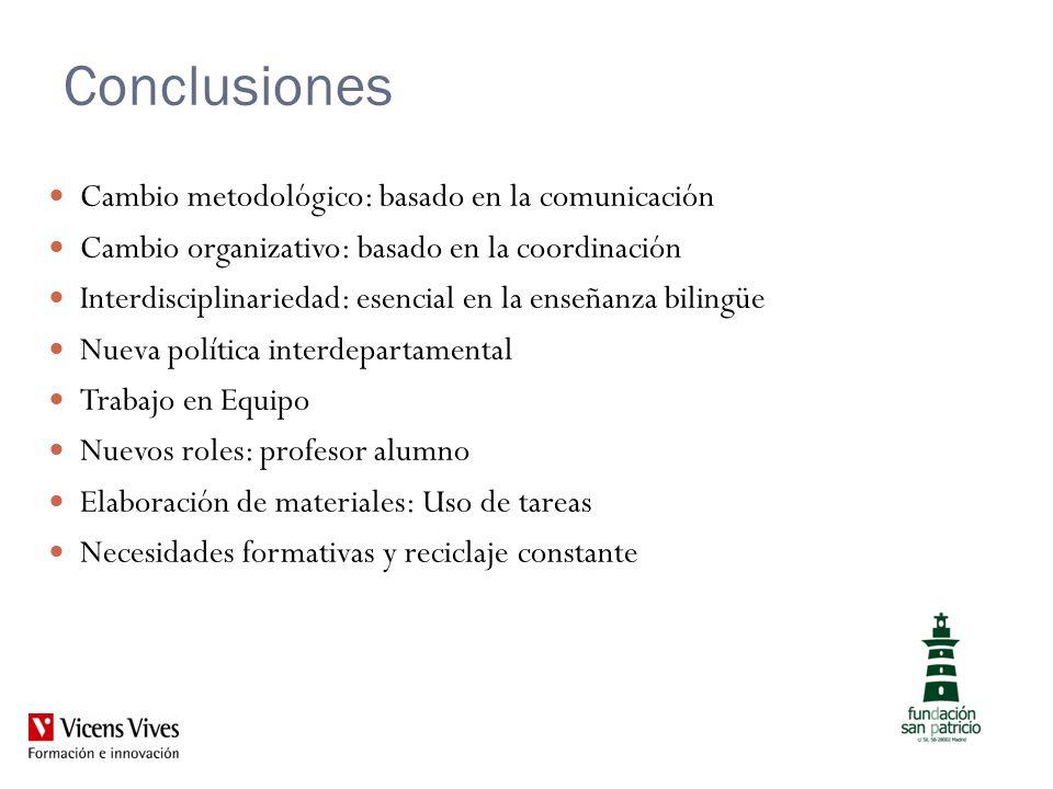 Conclusiones Cambio metodológico: basado en la comunicación Cambio organizativo: basado en la coordinación Interdisciplinariedad: esencial en la enseñ