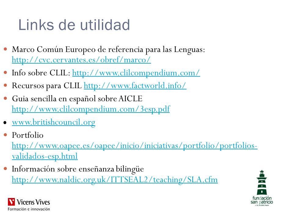 Links de utilidad Marco Común Europeo de referencia para las Lenguas: http://cvc.cervantes.es/obref/marco/ http://cvc.cervantes.es/obref/marco/ Info s