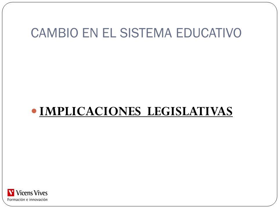 CAMBIO EN EL SISTEMA EDUCATIVO IMPLICACIONES LEGISLATIVAS