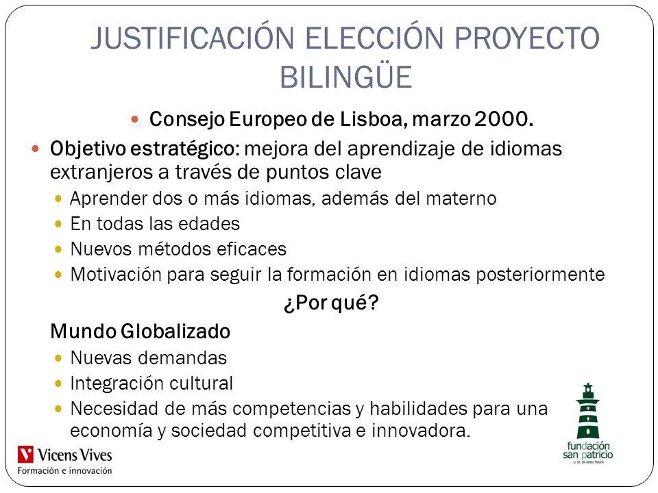JUSTIFICACIÓN ELECCIÓN PROYECTO BILINGÜE Consejo Europeo de Lisboa, marzo 2000. Objetivo estratégico: mejora del aprendizaje de idiomas extranjeros a