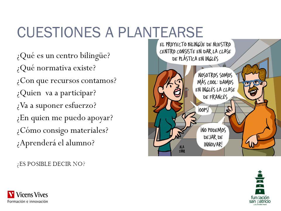 CUESTIONES A PLANTEARSE ¿Qué es un centro bilingüe? ¿Qué normativa existe? ¿Con que recursos contamos? ¿Quien va a participar? ¿Va a suponer esfuerzo?