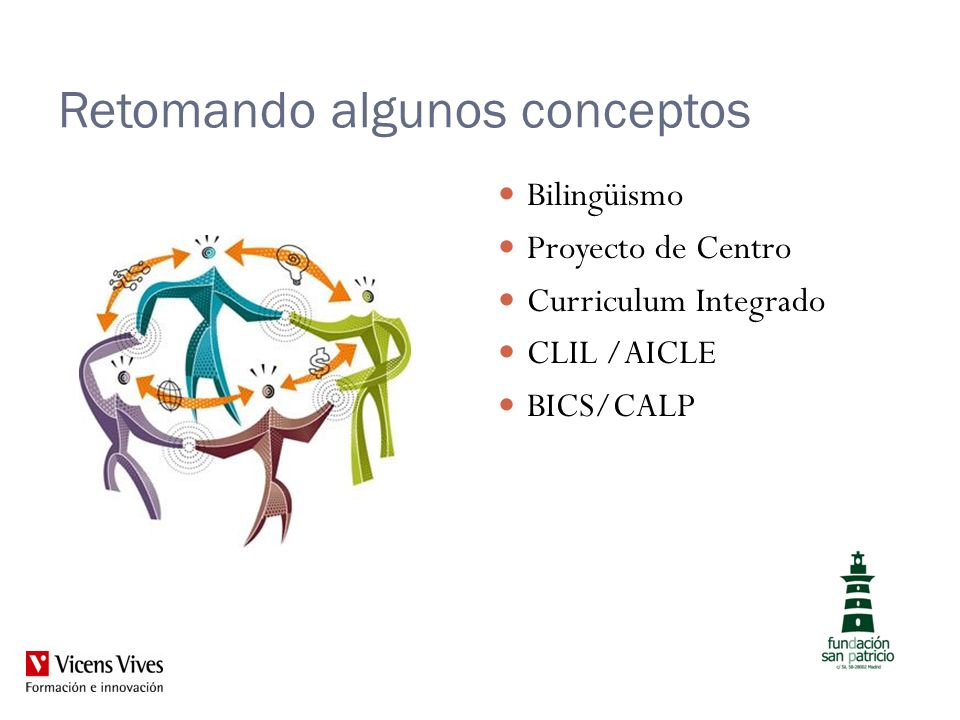 Retomando algunos conceptos Bilingüismo Proyecto de Centro Curriculum Integrado CLIL /AICLE BICS/CALP