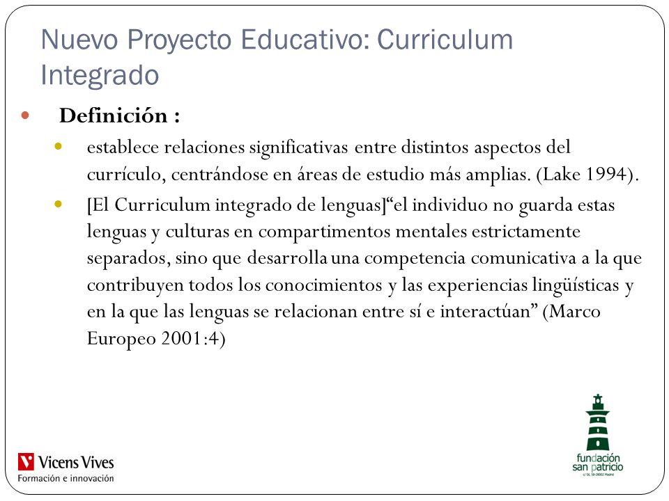 Nuevo Proyecto Educativo: Curriculum Integrado Definición : establece relaciones significativas entre distintos aspectos del currículo, centrándose en