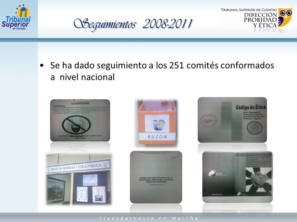 Se ha dado seguimiento a los 251 comités conformados a nivel nacional Seguimientos 2008-2011