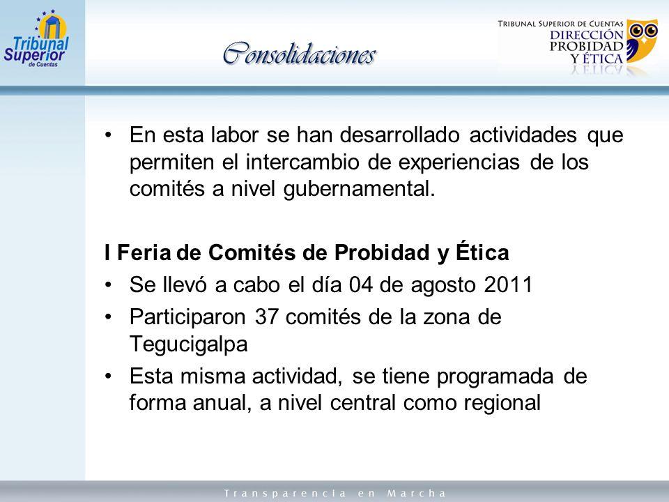 En esta labor se han desarrollado actividades que permiten el intercambio de experiencias de los comités a nivel gubernamental.