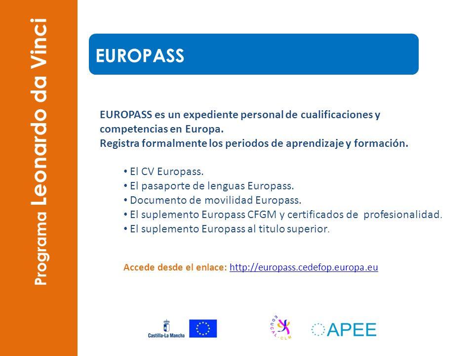 EUROPASS es un expediente personal de cualificaciones y competencias en Europa. Registra formalmente los periodos de aprendizaje y formación. El CV Eu