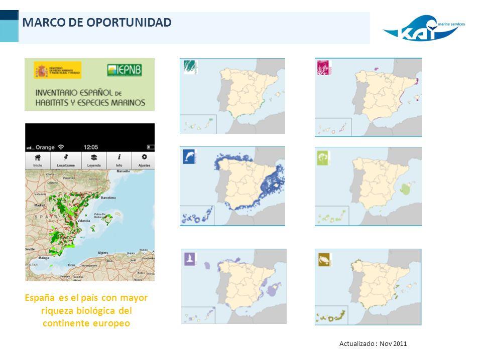 Actualizado : Nov 2011 España es el país con mayor riqueza biológica del continente europeo MARCO DE OPORTUNIDAD