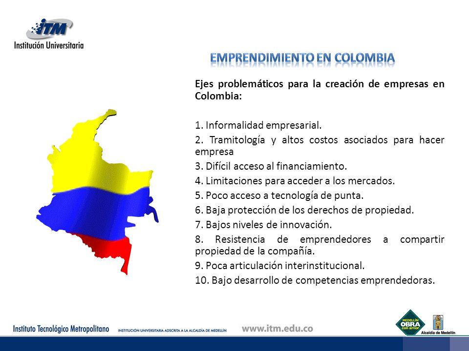 Ejes problemáticos para la creación de empresas en Colombia: 1. Informalidad empresarial. 2. Tramitología y altos costos asociados para hacer empresa