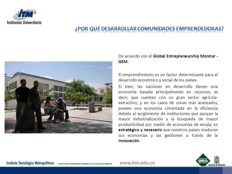 De acuerdo con el Global Entrepreneurship Monitor - GEM: El emprendimiento es un factor determinante para el desarrollo económico y social de los país
