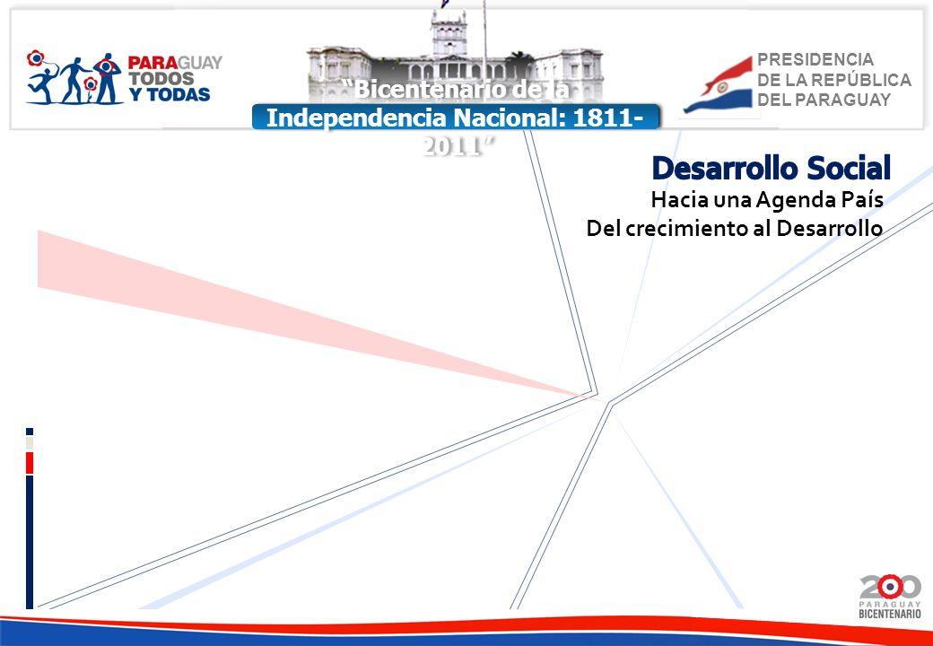 PRESIDENCIA DE LA REPÚBLICA DEL PARAGUAY Bicentenario de la Independencia Nacional: 1811- 2011 Hacia una Agenda País Del crecimiento al Desarrollo