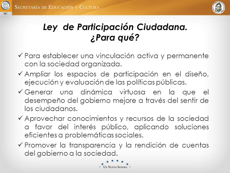 Ley de Participación Ciudadana. ¿Para qué? Para establecer una vinculación activa y permanente con la sociedad organizada. Ampliar los espacios de par