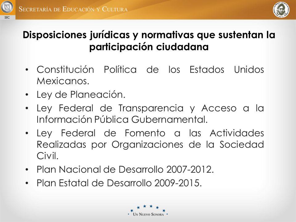 Disposiciones jurídicas y normativas que sustentan la participación ciudadana Constitución Política de los Estados Unidos Mexicanos. Ley de Planeación