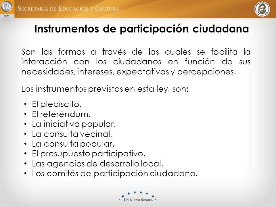 Instrumentos de participación ciudadana Son las formas a través de las cuales se facilita la interacción con los ciudadanos en función de sus necesida