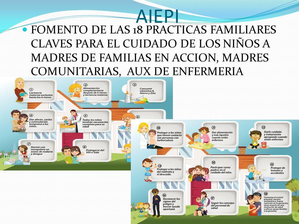 AIEPI FOMENTO DE LAS 18 PRACTICAS FAMILIARES CLAVES PARA EL CUIDADO DE LOS NIÑOS A MADRES DE FAMILIAS EN ACCION, MADRES COMUNITARIAS, AUX DE ENFERMERI