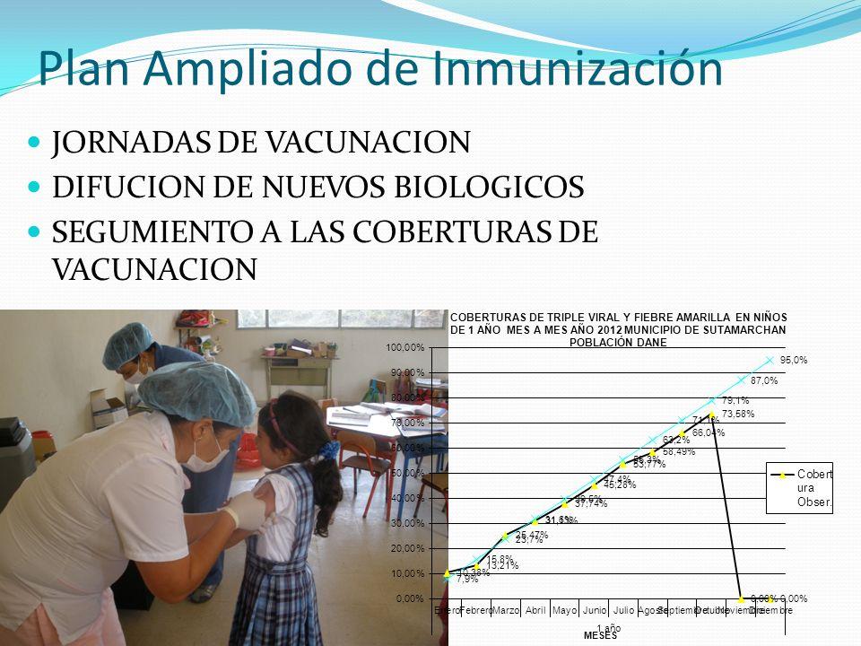 Plan Ampliado de Inmunización JORNADAS DE VACUNACION DIFUCION DE NUEVOS BIOLOGICOS SEGUMIENTO A LAS COBERTURAS DE VACUNACION