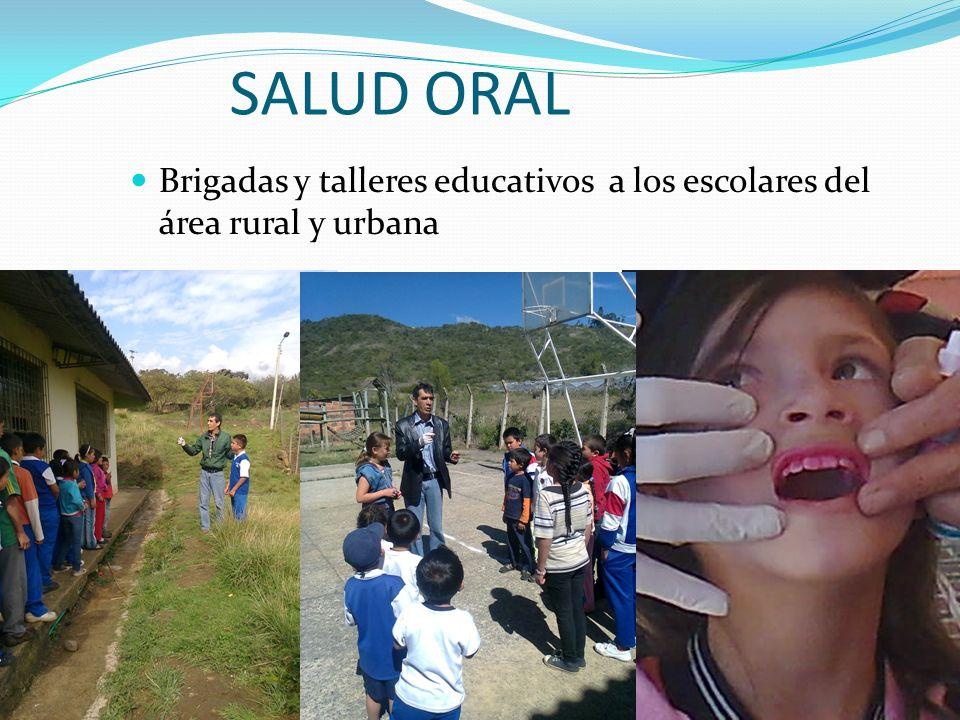 SALUD ORAL Brigadas y talleres educativos a los escolares del área rural y urbana
