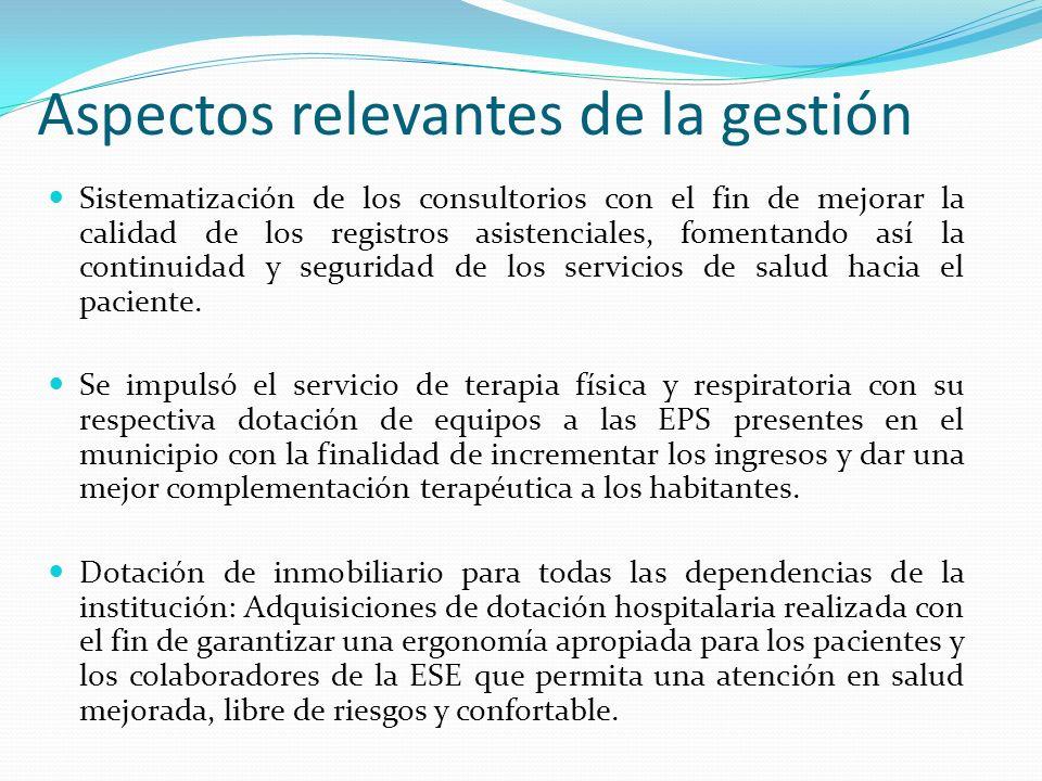 Aspectos relevantes de la gestión Sistematización de los consultorios con el fin de mejorar la calidad de los registros asistenciales, fomentando así