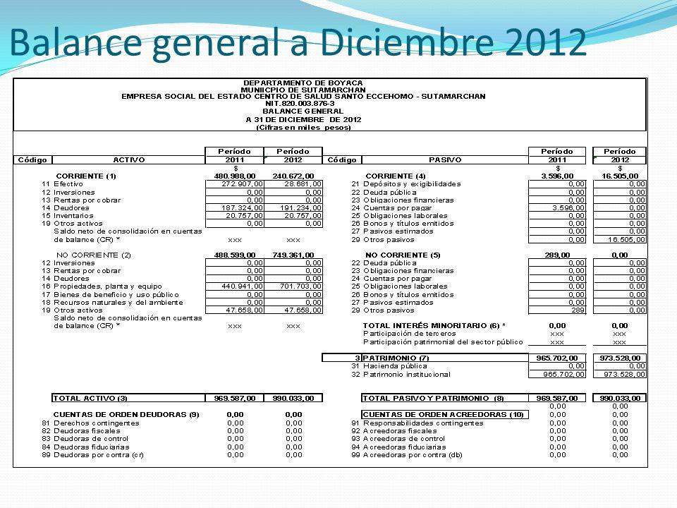 Balance general a Diciembre 2012