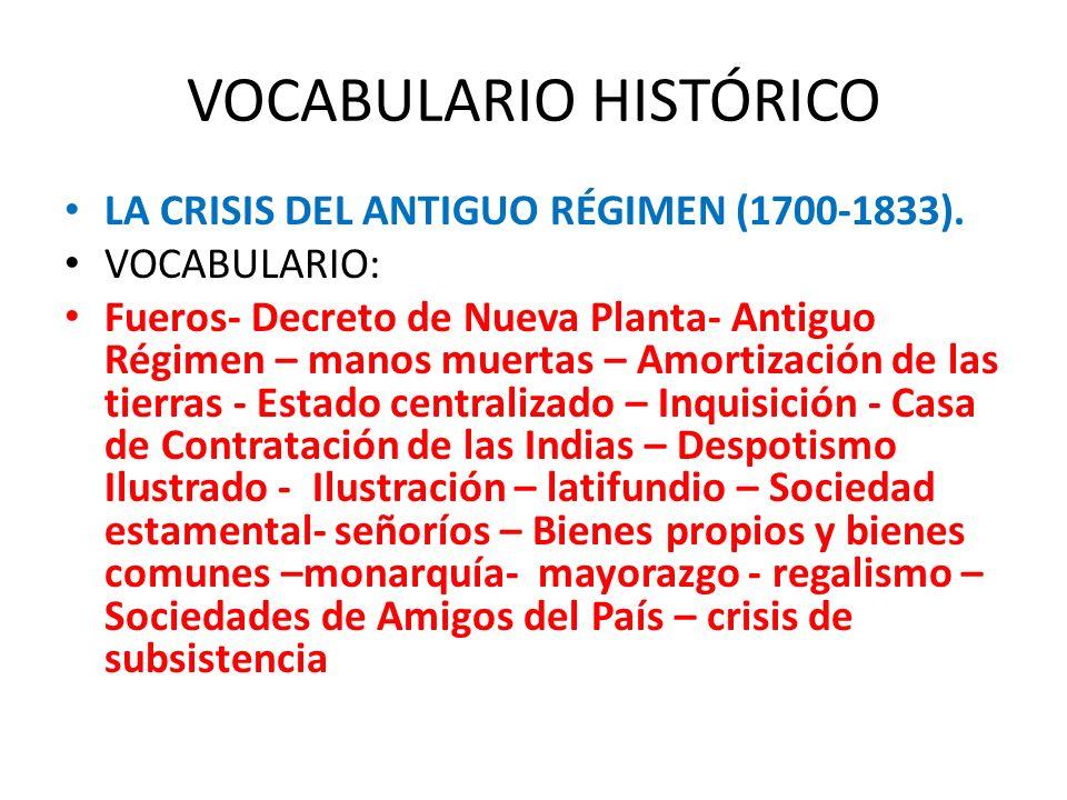VOCABULARIO HISTÓRICO LA CRISIS DEL ANTIGUO RÉGIMEN (1700-1833). VOCABULARIO: Fueros- Decreto de Nueva Planta- Antiguo Régimen – manos muertas – Amort