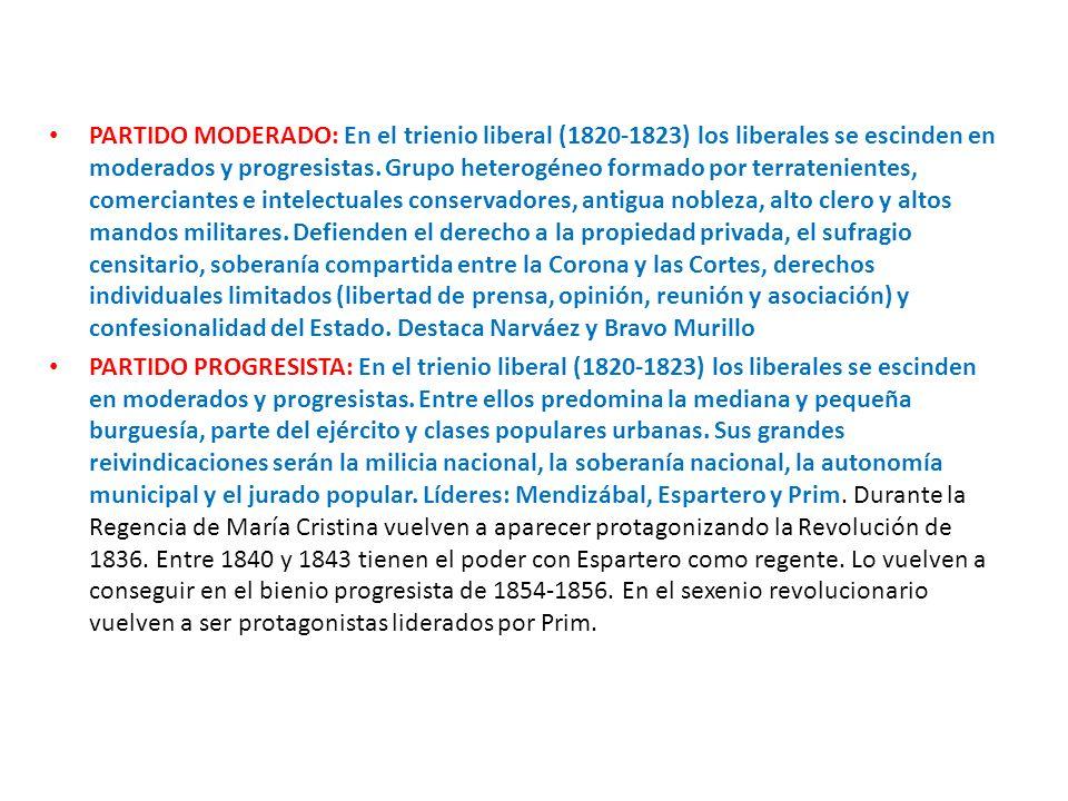 PARTIDO MODERADO: En el trienio liberal (1820-1823) los liberales se escinden en moderados y progresistas. Grupo heterogéneo formado por terrateniente