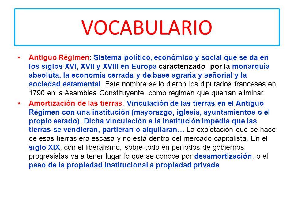 VOCABULARIO Antiguo Régimen: Sistema político, económico y social que se da en los siglos XVI, XVII y XVIII en Europa caracterizado por la monarquía a