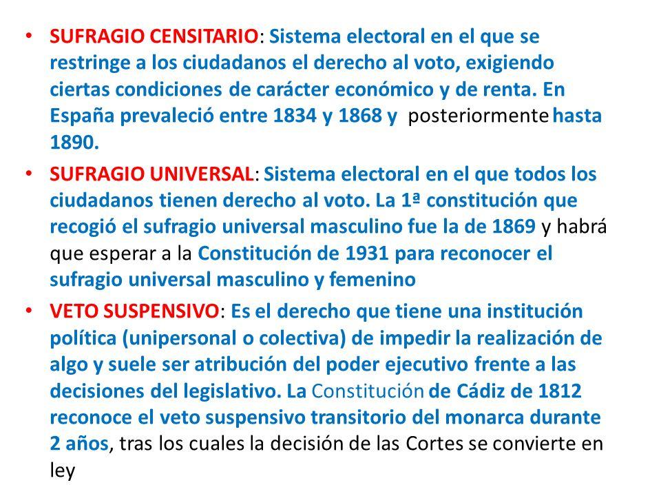 SUFRAGIO CENSITARIO: Sistema electoral en el que se restringe a los ciudadanos el derecho al voto, exigiendo ciertas condiciones de carácter económico