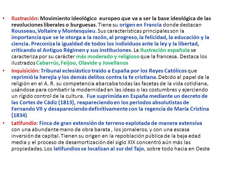 Manos muertas: Nombre que reciben las propiedades amortizadas de la nobleza, el clero y los municipios.