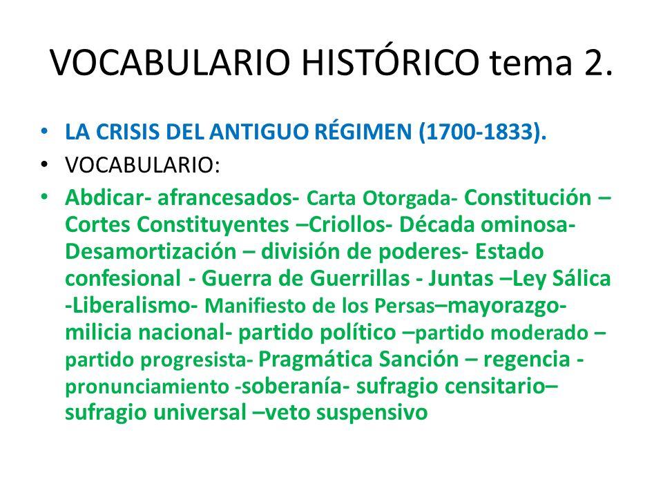 VOCABULARIO HISTÓRICO tema 2. LA CRISIS DEL ANTIGUO RÉGIMEN (1700-1833). VOCABULARIO: Abdicar- afrancesados- Carta Otorgada- Constitución – Cortes Con