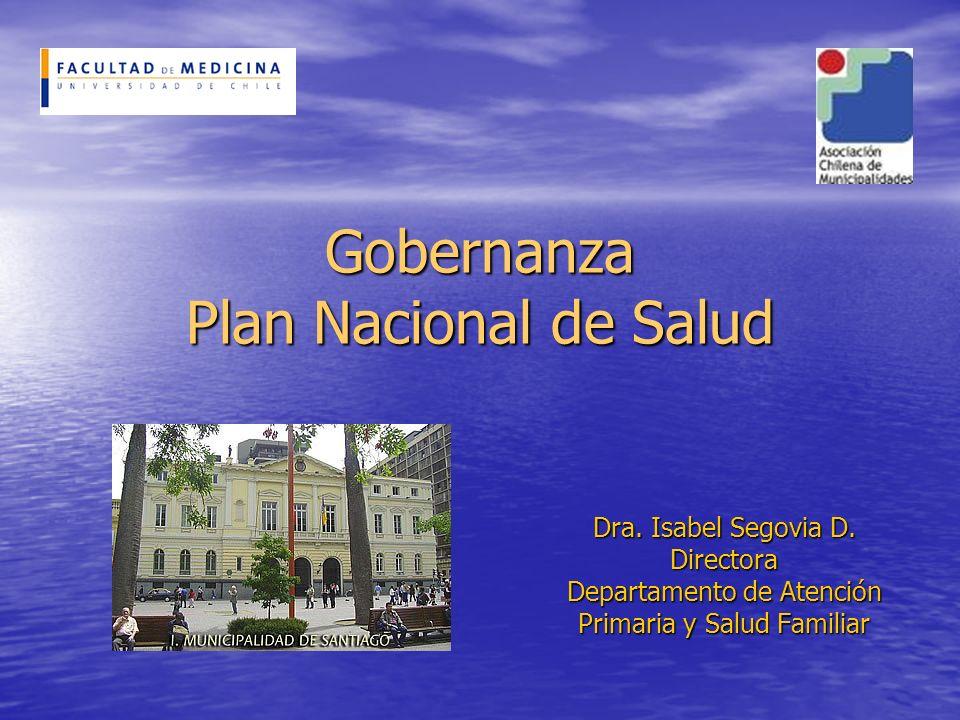 Gobernanza Plan Nacional de Salud Dra. Isabel Segovia D. Directora Departamento de Atención Primaria y Salud Familiar
