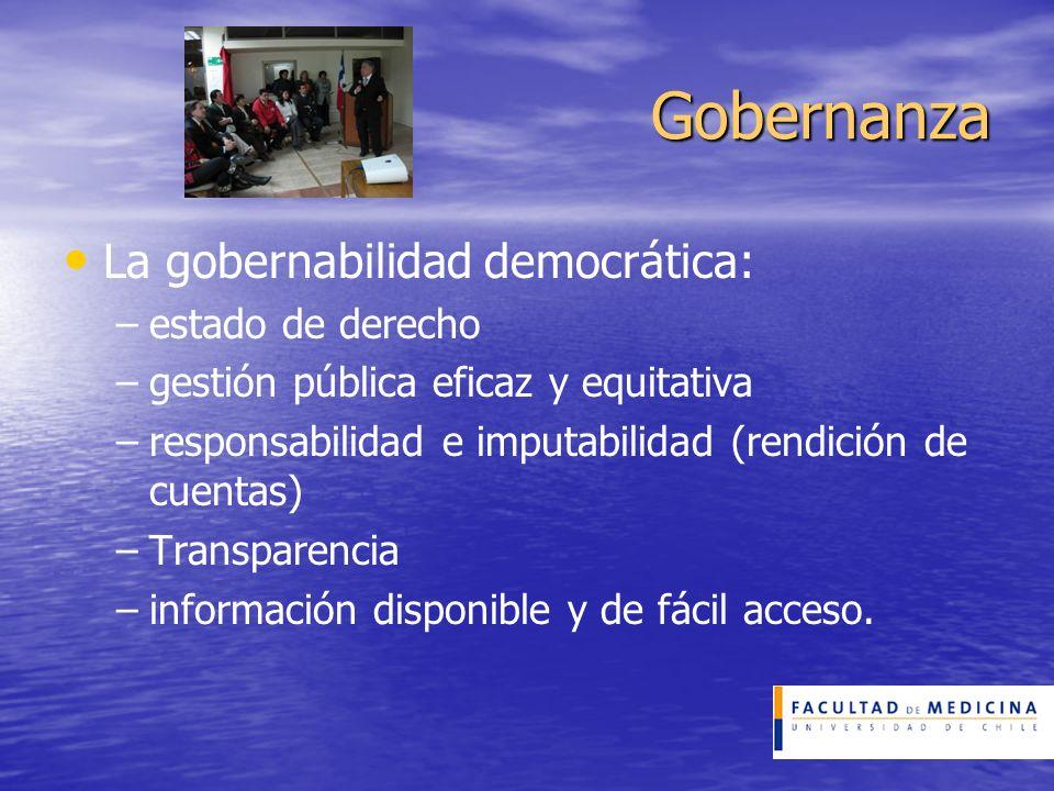Gobernanza La gobernabilidad democrática: – –estado de derecho – –gestión pública eficaz y equitativa – –responsabilidad e imputabilidad (rendición de