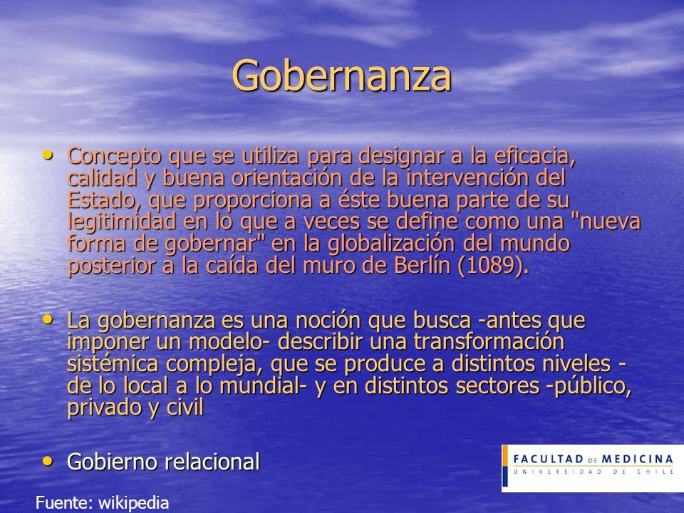 Gobernanza Concepto que se utiliza para designar a la eficacia, calidad y buena orientación de la intervención del Estado, que proporciona a éste buen