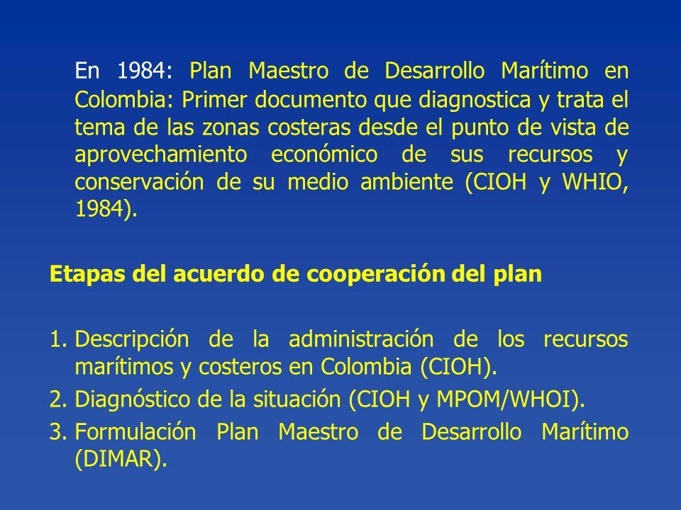 En 1984: Plan Maestro de Desarrollo Marítimo en Colombia: Primer documento que diagnostica y trata el tema de las zonas costeras desde el punto de vis