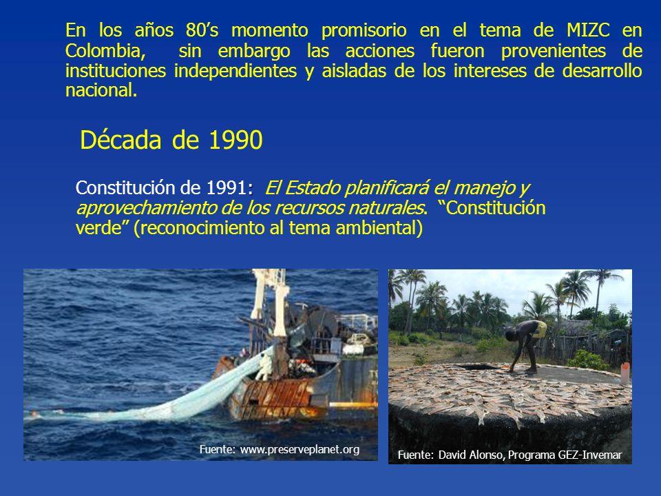 En los años 80s momento promisorio en el tema de MIZC en Colombia, sin embargo las acciones fueron provenientes de instituciones independientes y aisl
