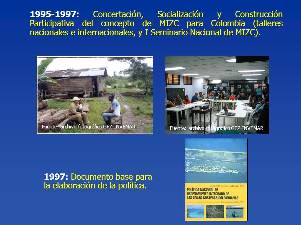 1997: Documento base para la elaboración de la política. 1995-1997: Concertación, Socialización y Construcción Participativa del concepto de MIZC para