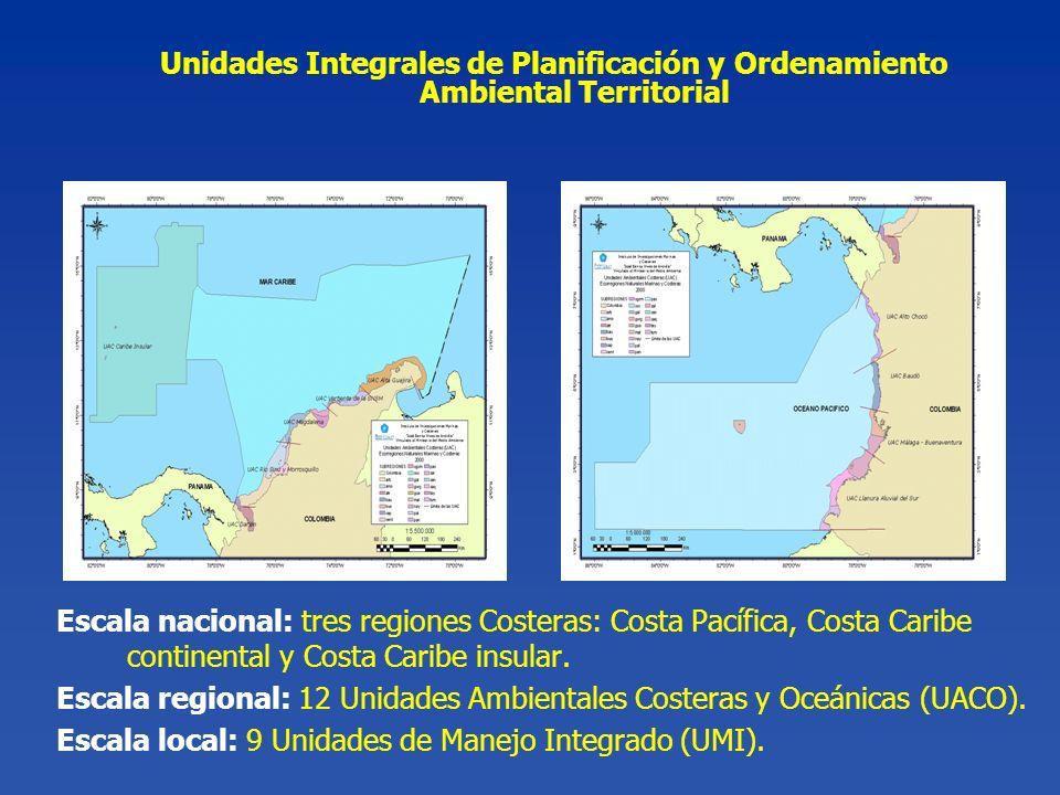 Escala nacional: tres regiones Costeras: Costa Pacífica, Costa Caribe continental y Costa Caribe insular. Escala regional: 12 Unidades Ambientales Cos