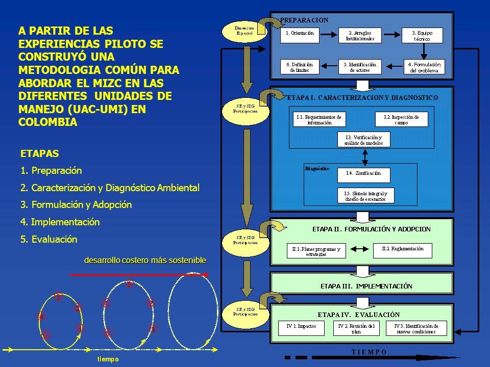 ETAPAS 1. Preparación 2. Caracterización y Diagnóstico Ambiental 3. Formulación y Adopción 4. Implementación 5. Evaluación A PARTIR DE LAS EXPERIENCIA