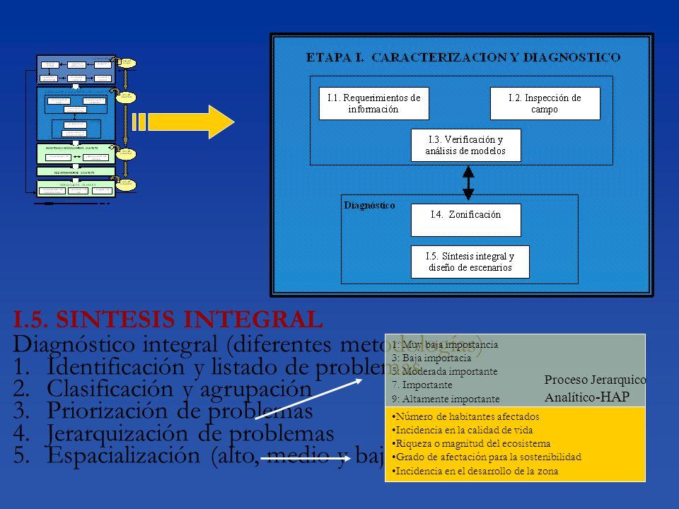 I.5. SINTESIS INTEGRAL Diagnóstico integral (diferentes metodologías) 1.Identificación y listado de problemas 2.Clasificación y agrupación 3.Priorizac