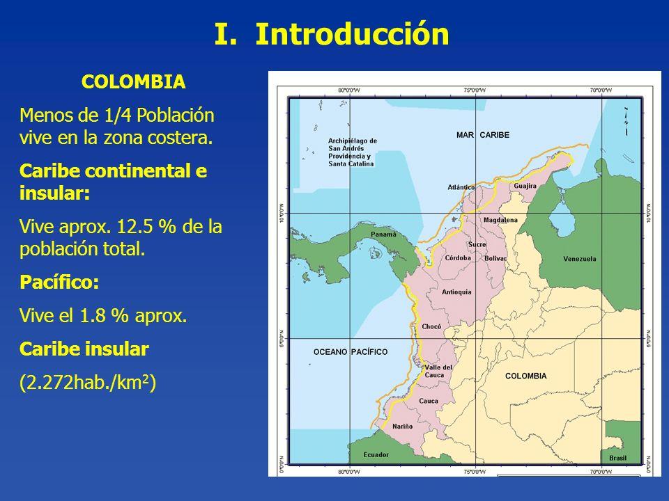 COLOMBIA Menos de 1/4 Población vive en la zona costera. Caribe continental e insular: Vive aprox. 12.5 % de la población total. Pacífico: Vive el 1.8