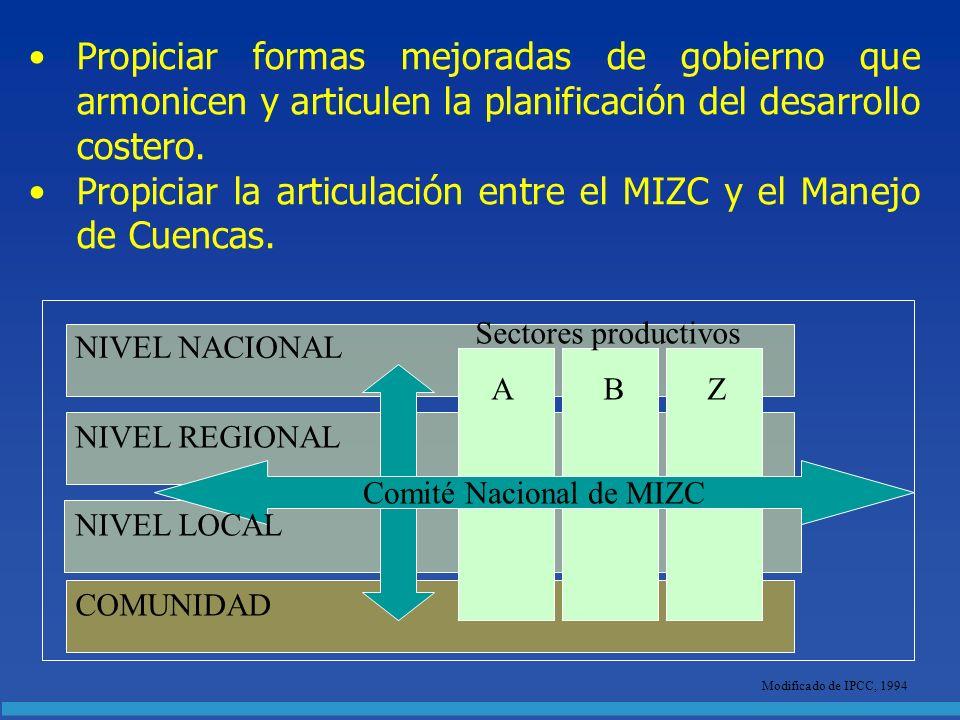 Propiciar formas mejoradas de gobierno que armonicen y articulen la planificación del desarrollo costero. Propiciar la articulación entre el MIZC y el