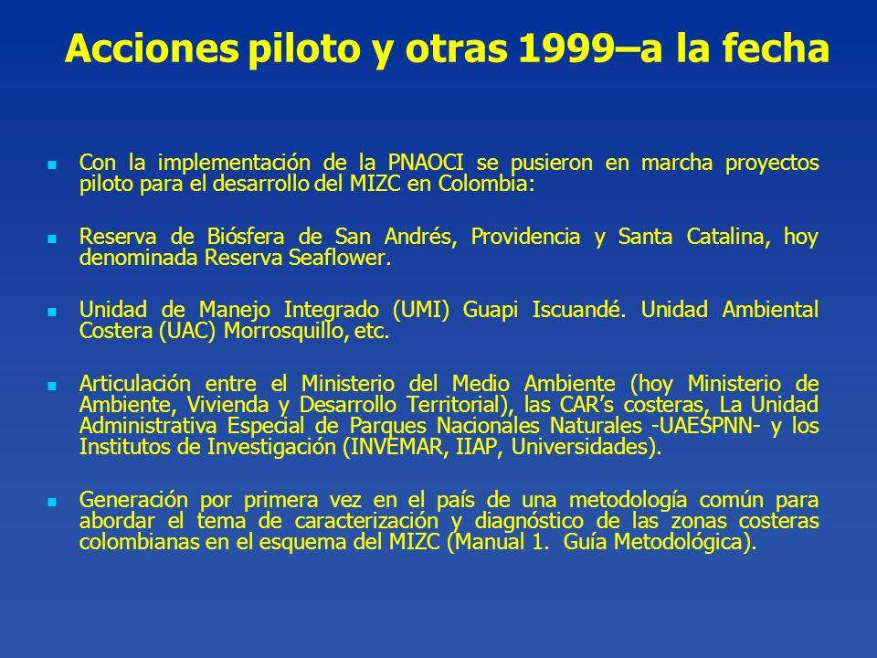 Acciones piloto y otras 1999–a la fecha Con la implementación de la PNAOCI se pusieron en marcha proyectos piloto para el desarrollo del MIZC en Colom