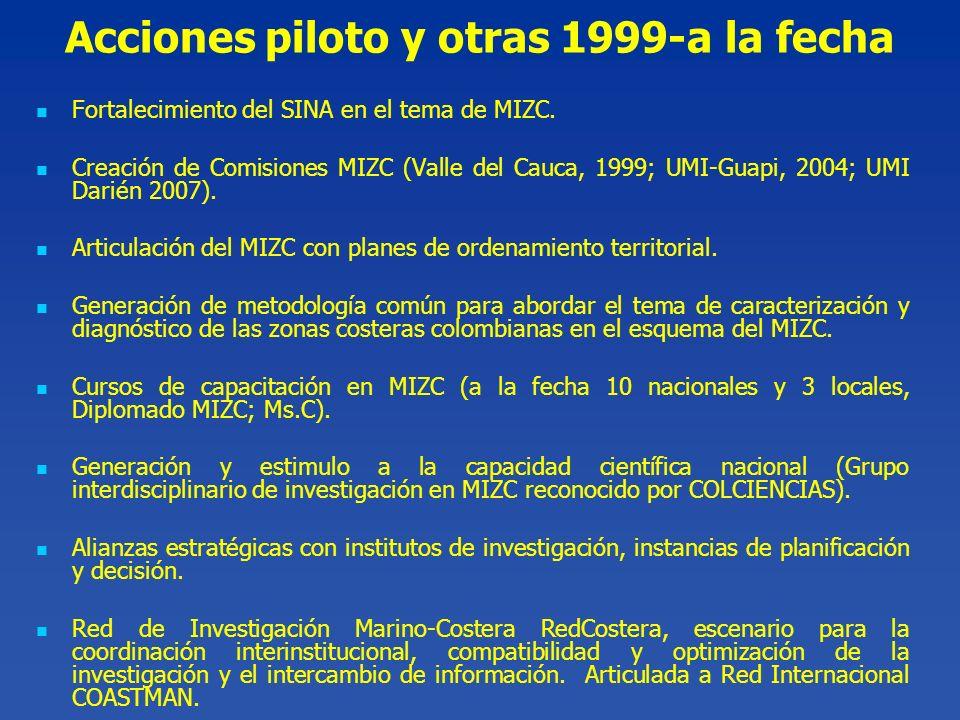 Fortalecimiento del SINA en el tema de MIZC. Creación de Comisiones MIZC (Valle del Cauca, 1999; UMI-Guapi, 2004; UMI Darién 2007). Articulación del M