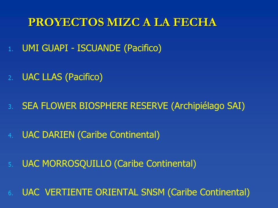 PROYECTOS MIZC A LA FECHA 1. 1. UMI GUAPI - ISCUANDE (Pacifico) 2. 2. UAC LLAS (Pacifico) 3. 3. SEA FLOWER BIOSPHERE RESERVE (Archipiélago SAI) 4. 4.