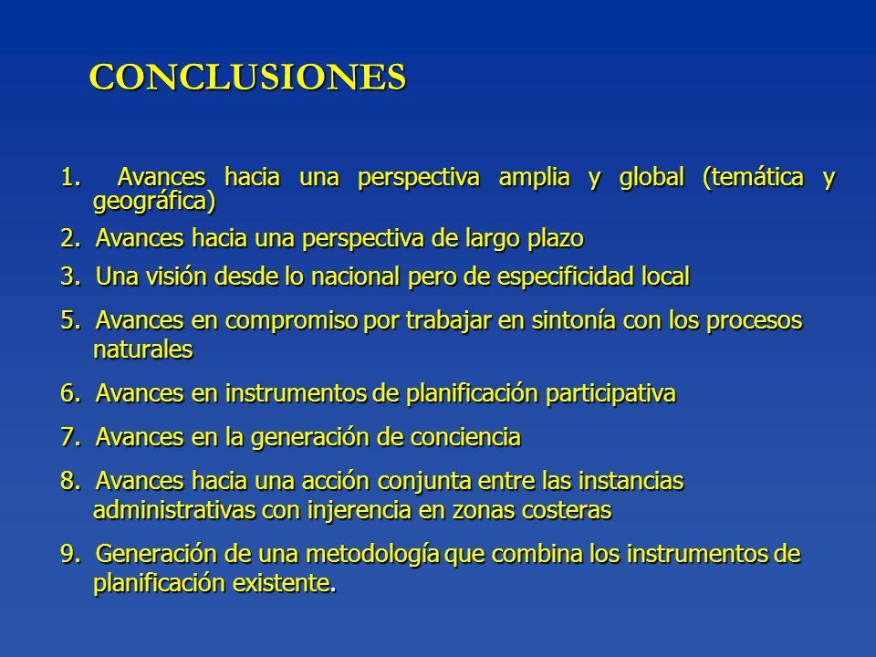 CONCLUSIONES 1. Avances hacia una perspectiva amplia y global (temática y geográfica) 2. Avances hacia una perspectiva de largo plazo 3. Una visión de