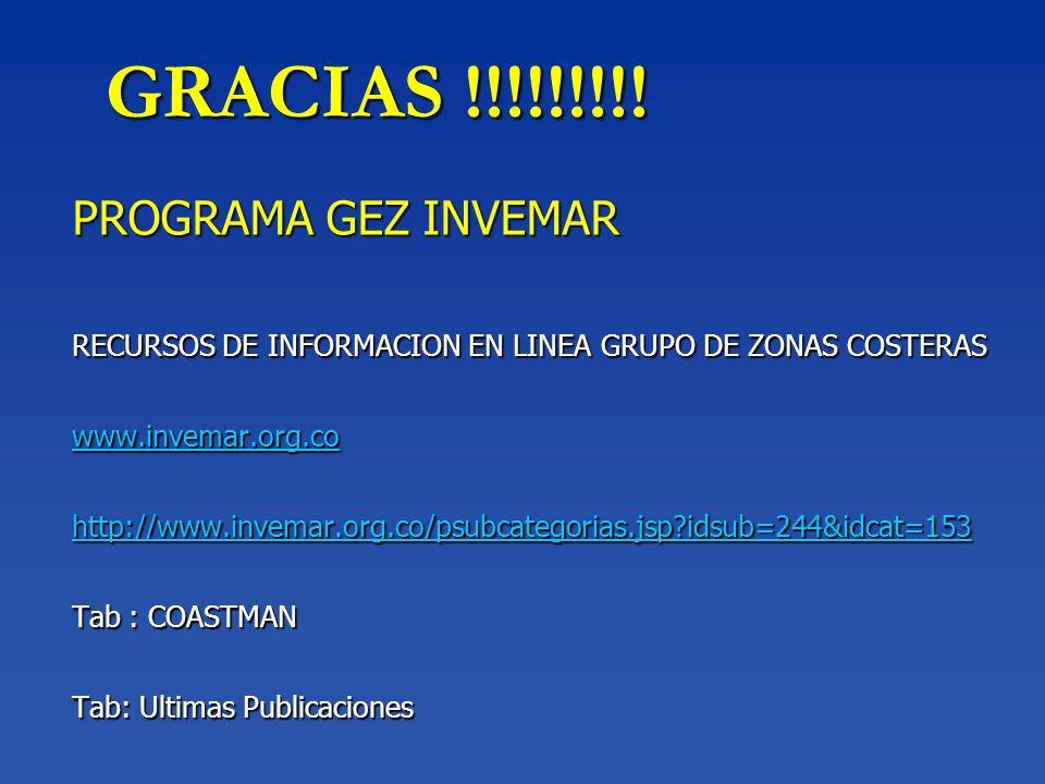 GRACIAS !!!!!!!!! PROGRAMA GEZ INVEMAR RECURSOS DE INFORMACION EN LINEA GRUPO DE ZONAS COSTERAS www.invemar.org.co http://www.invemar.org.co/psubcateg