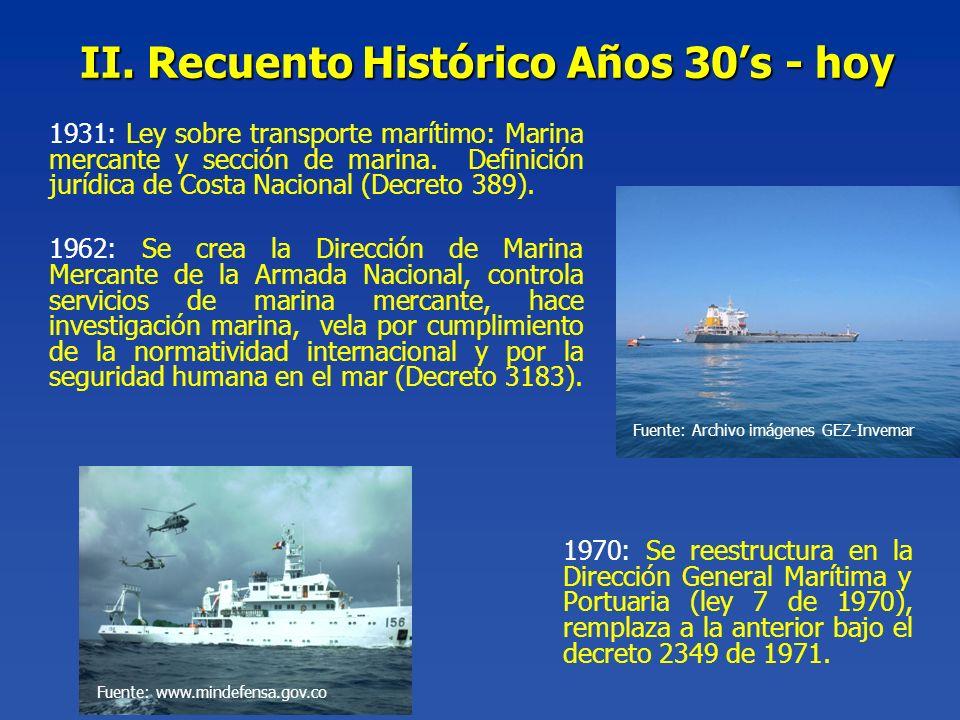 II. Recuento Histórico Años 30s - hoy 1970: Se reestructura en la Dirección General Marítima y Portuaria (ley 7 de 1970), remplaza a la anterior bajo