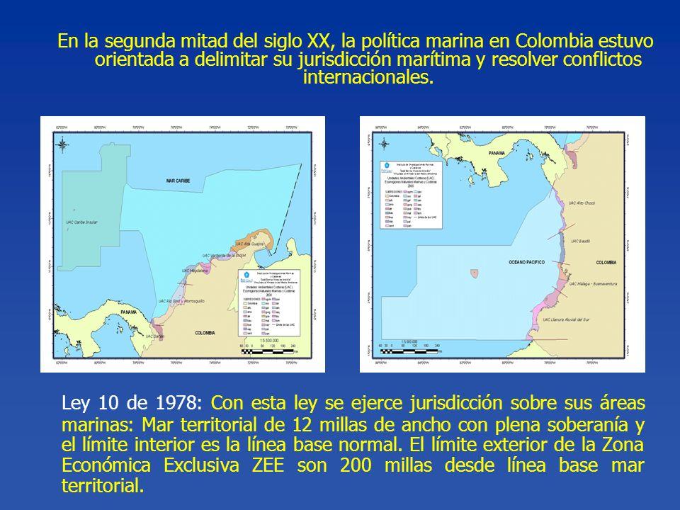 Ley 10 de 1978: Con esta ley se ejerce jurisdicción sobre sus áreas marinas: Mar territorial de 12 millas de ancho con plena soberanía y el límite int