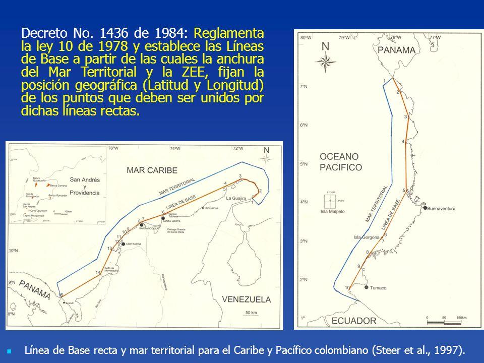Línea de Base recta y mar territorial para el Caribe y Pacífico colombiano (Steer et al., 1997). Decreto No. 1436 de 1984: Reglamenta la ley 10 de 197