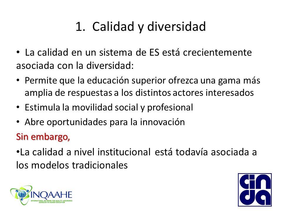 1. Calidad y diversidad La calidad en un sistema de ES está crecientemente asociada con la diversidad: Permite que la educación superior ofrezca una g